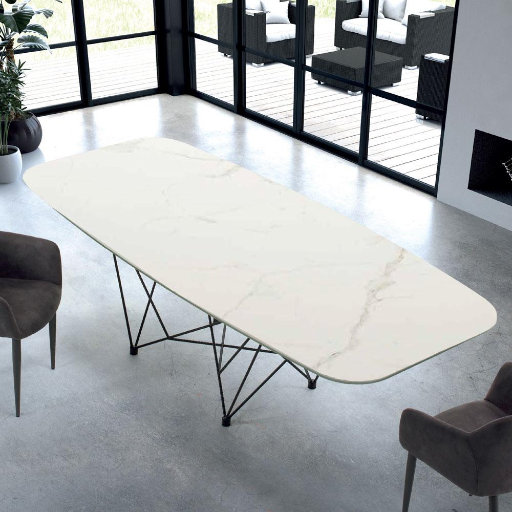 Moderne tonvormige tafel in staal en marmer Made in Italy Ezzellino