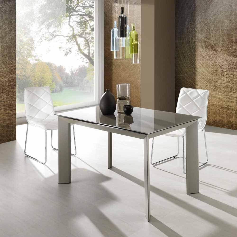Zeno tafel met taupe gelakt gehard glas top
