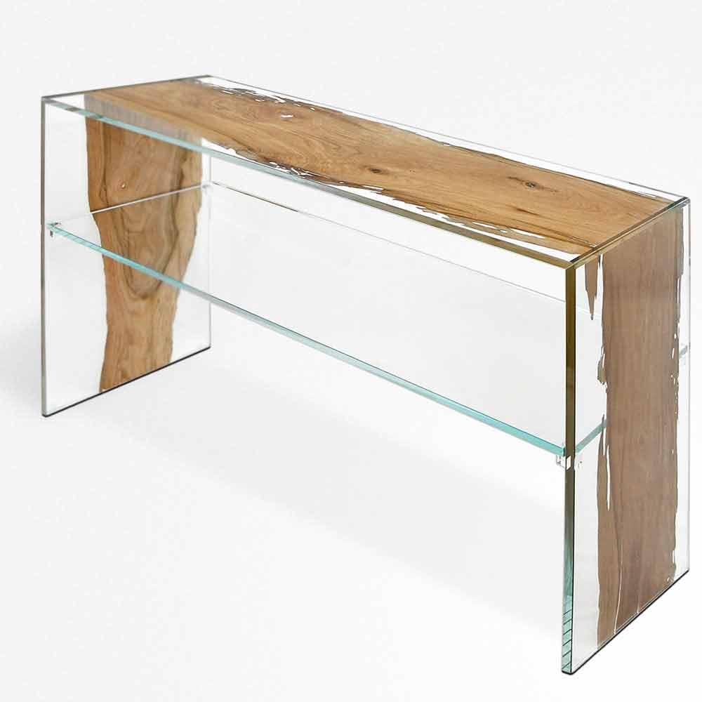Houten Glas Tafel.Console Tafel In Dolfijn Houten En Glazen Fenice In Venetie