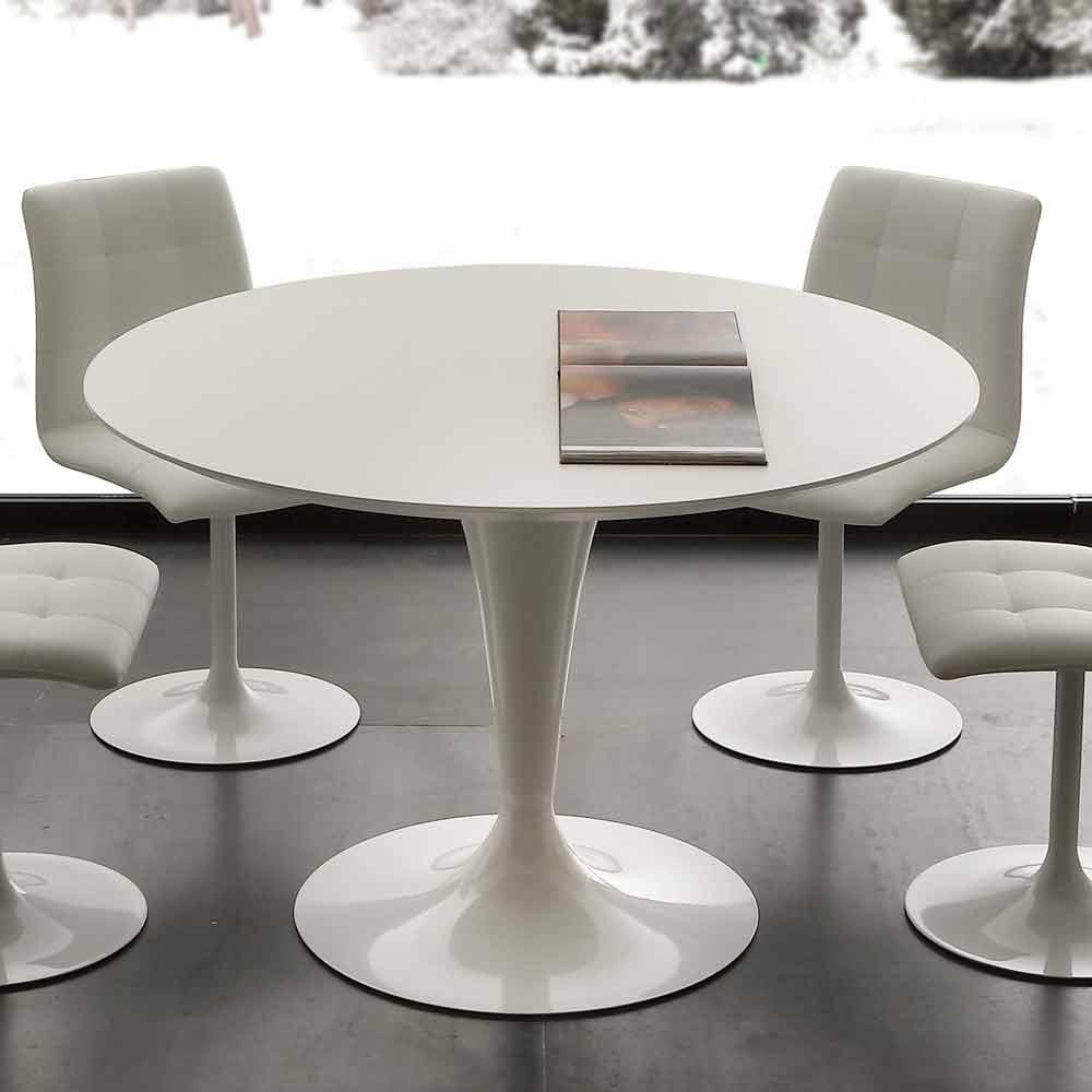 Witte Ronde Eet Tafel.Ronde Tafel Met Modern Design Topeka Witte Kleur