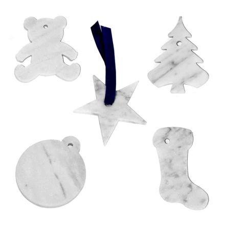 10 kerstboomversieringen in wit Carrara-marmer luxe ontwerp - decoraties