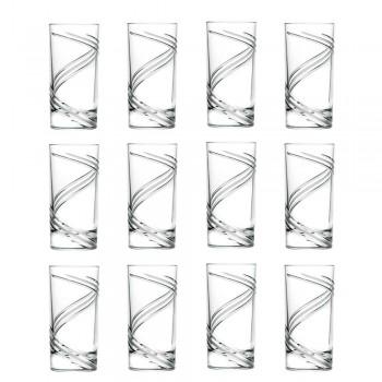 12 hoge tumbler cocktailglazen van Italiaans ecologisch kristal - cycloon