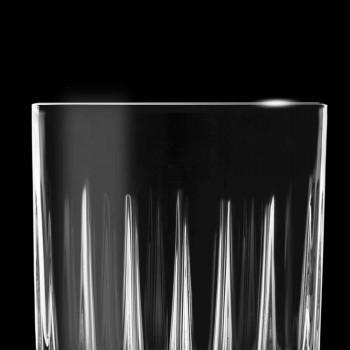 12 likeurglazen in ecokristal met lineaire designdecoraties - Senzatempo