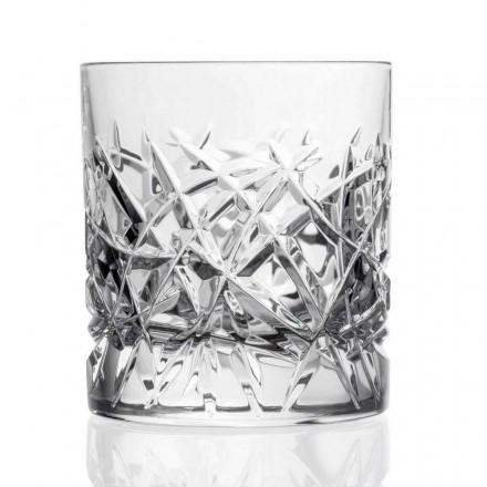 12 Dof vintage glazen voor water- of whiskydesign in kristal - titanium