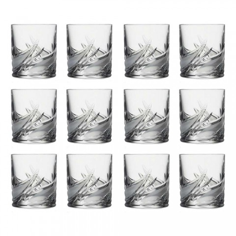 12 dubbele ouderwetse tumbler lage kristallen whiskyglazen - advent