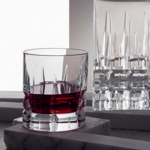 12 dubbele ouderwetse tuimelaar Basso whiskyglazen in kristal - Fiucco
