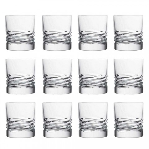 12 Crystal Glasses Wave Decor voor Whisky of Dof Tumbler Water - Titanium