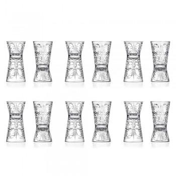 12 luxe versierde jiggerglazen van ecologisch kristal - Destiny
