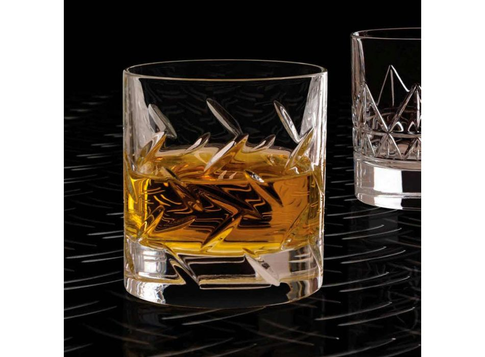 12 glazen voor whisky of water in ecokristal met moderne decoraties - aritmie