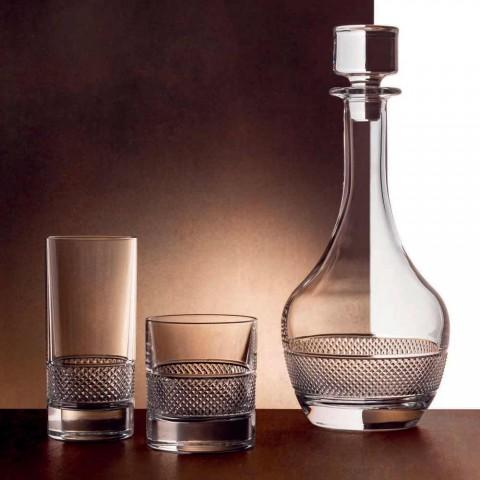 12 hoge drinkglazen in luxe gedecoreerd ecologisch kristal - Milito