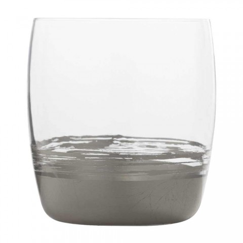 12 lage drinkglazen voor water met blad van goud, platina of brons - Soffio