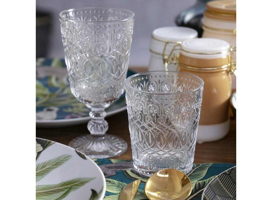 12 bekerglazen voor water in versierd transparant glas - Maroccobic