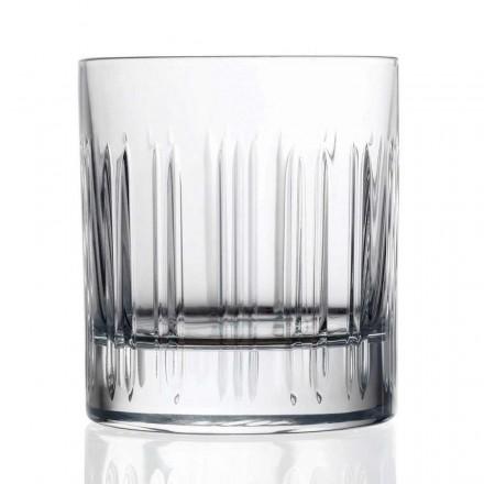 12 Whisky- of Kristallen Waterglazen met Luxe Lineaire Decoratie - Aritmie