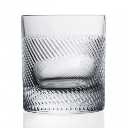 12 Whisky- of Waterglazen in Eco Crystal Versierd Vintage Design - Tactiel