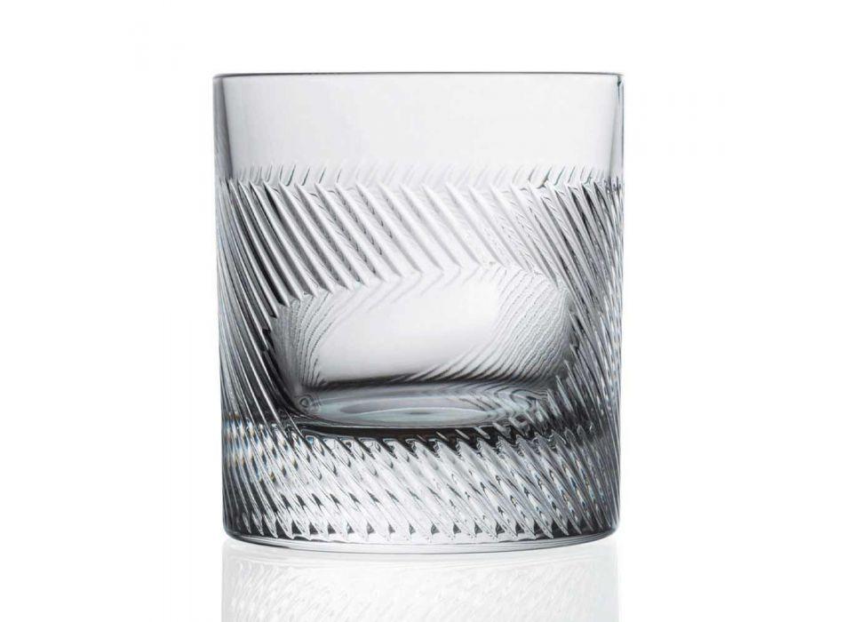 12 Whisky- of Waterglazen in Eco Crystal Versierd Vintage Design - Tactiel