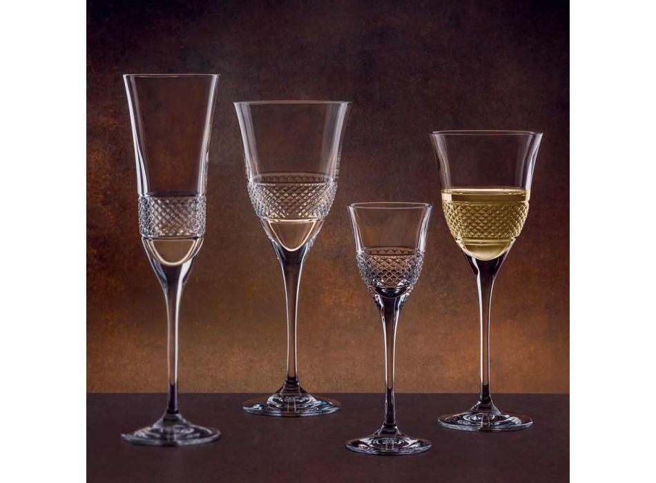 12 Rode wijnglazen in Eco Crystal Elegant gedecoreerd ontwerp - Milito