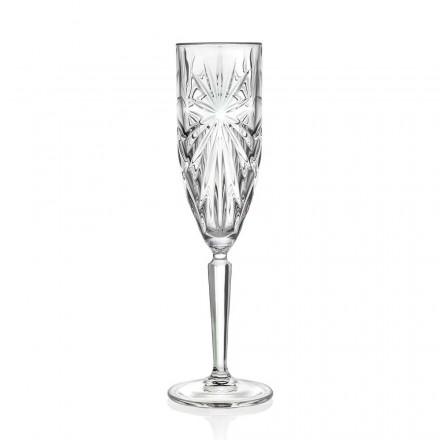 12 Fluitglazen Glas voor Champagne of Prosecco in Eco Crystal - Daniele