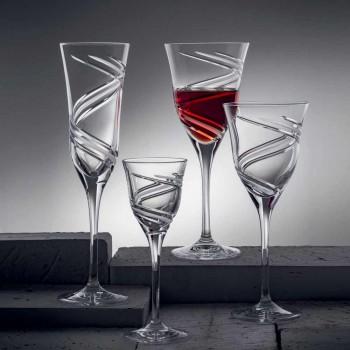 12 Champagnefluitglazen van innovatief gedecoreerd ecologisch kristal - cycloon