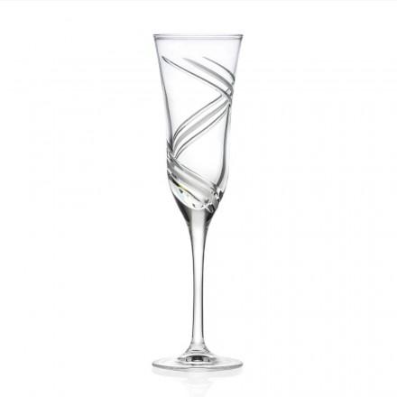 12 Champagnefluitglazen van gedecoreerd ecologisch kristal Gemaakt in Italië - cycloon