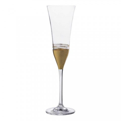 12 kristallen fluitbekers met luxe goudbrons of platina blad - Soffio