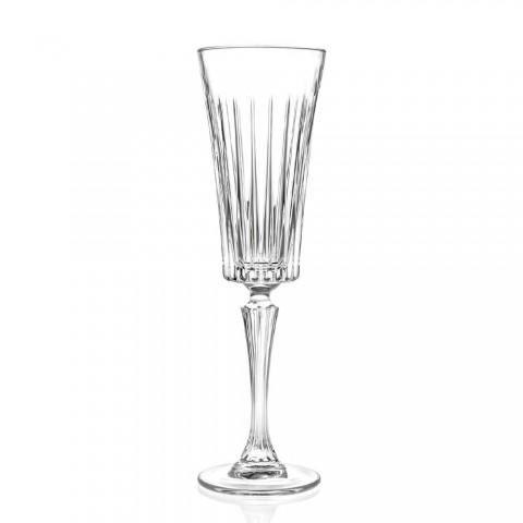 12 fluitglazen voor mousserende wijn met lineaire insnijdingen in Eco Crystal - Senzatempo