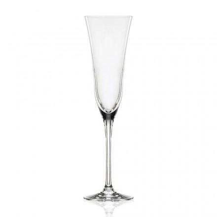 12 fluitglazen in ecologisch luxe kristal, minimalistisch design - glad