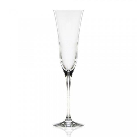 12 fluitglazen in ecologisch luxe kristal minimalistisch ontwerp - glad