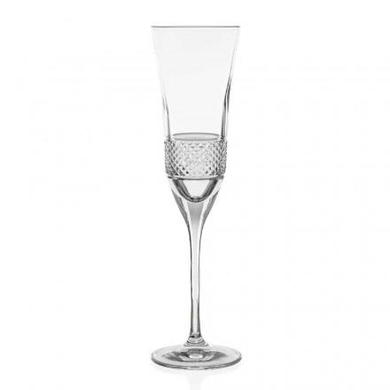 12 ecologische kristallen champagneglazen met fluit, met de hand gedecoreerd - Milito