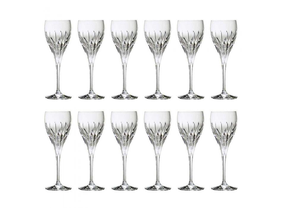 12 met de hand gedecoreerde witte wijnglazen van ecologisch luxekristal - Voglia