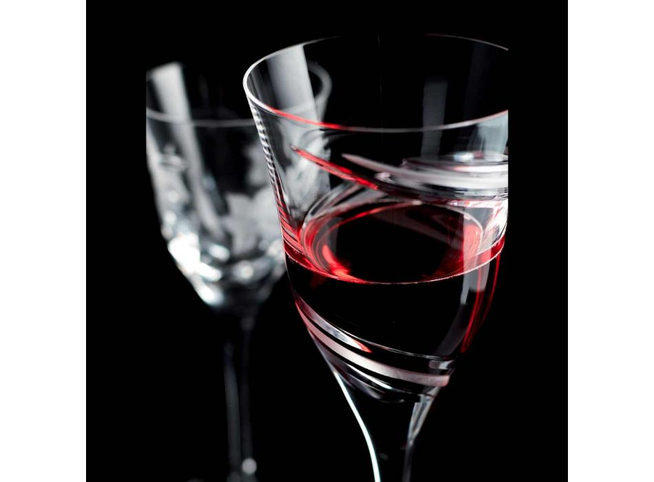 12 glazen voor witte wijn in gedecoreerd en satijn ecologisch kristal - cycloon