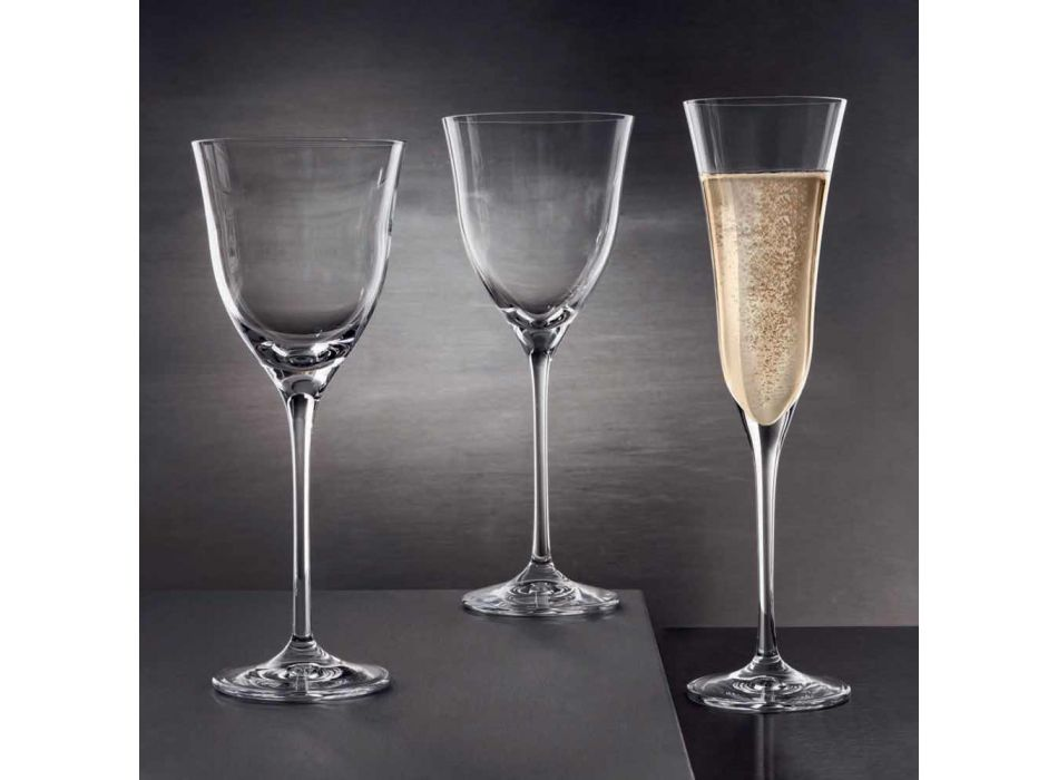 12 rode wijnglazen in ecologisch kristal Luxe minimalistisch design - glad
