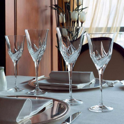12 luxe design witte wijnglazen in met de hand gedecoreerd Eco Crystal - Advent