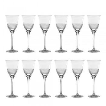 12 witte wijnglazen in ecologisch kristal luxe gedecoreerd ontwerp - Milito