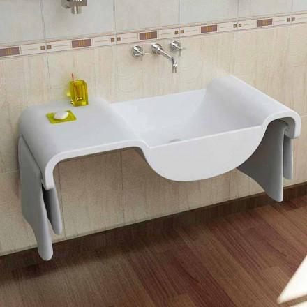 Moderne design witte wastafel Wave made in Italy