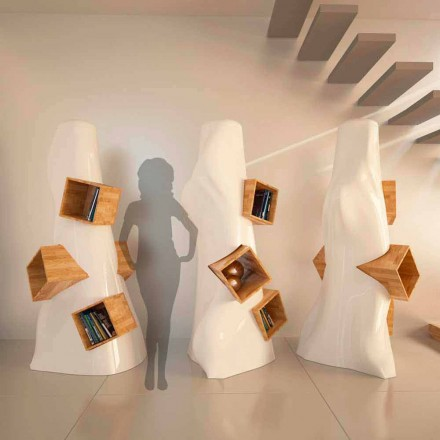 Moderne design boekenkast in hout en K2 Solid Surface gemaakt in Italië