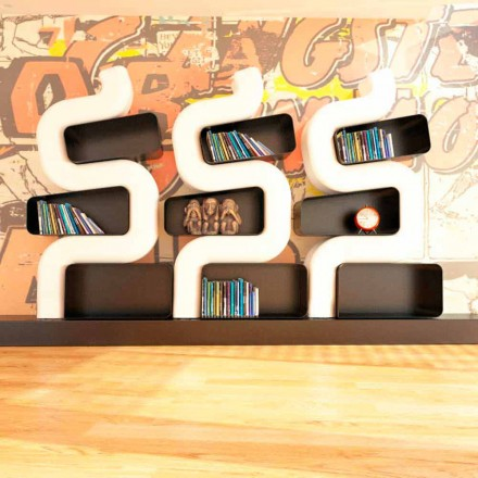 Moderne boekenkast in massief design, Ser P made in Italy