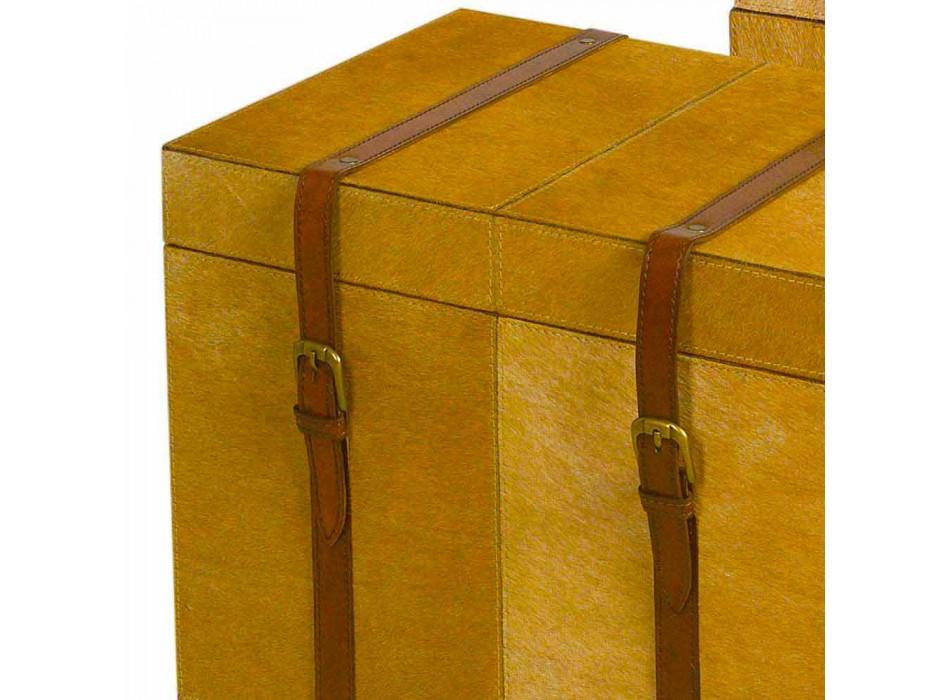 2 koffers modern design in het licht bruin paard DEII