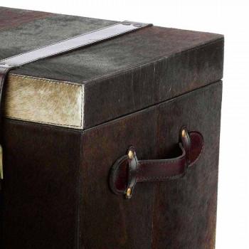 2 design koffers donkerbruin pony Ceskini, groot en klein