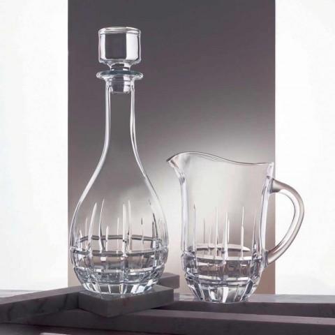 2 flessen met ronde design wijnstop van gedecoreerd kristal - Fiucco