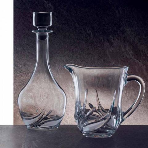 2 Eco Kristallen Wijnflessen met Rond Design Deksel en Decoraties - Advent
