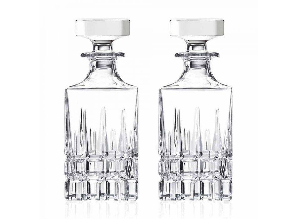 2 Whiskyflessen met Kristallen Dop Vierkant Ontwerp met Dop - Fiucco