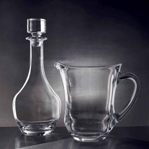 2 flessen voor wijnen in ecologisch kristal Italiaans minimalistisch design - glad