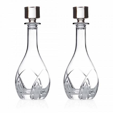2 Wijnflessen met Ronde Design Deksels in Eco Crystal - Montecristo