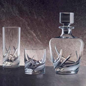 2 kristallen whiskyflessen met luxe versierde design dop - Advent