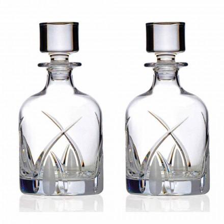 2 Whiskyflessen met Cilindrische Design Dop in Eco Kristal - Montecristo