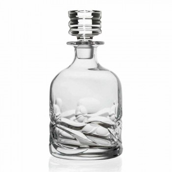 2 Eco-versierde kristallen whiskyflessen en luxe designdop - Titanium