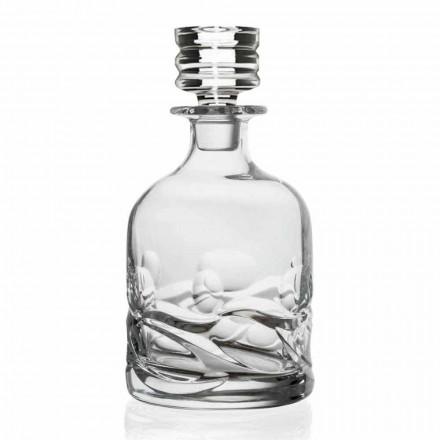2 Eco Crystal Versierde Whisky Flessen met Luxe Design Dop - Titanium