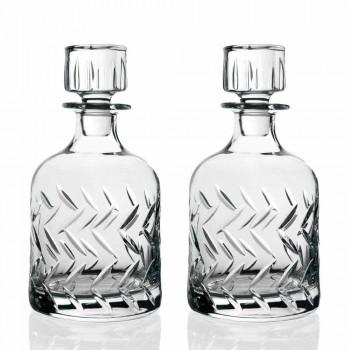 2 milieuvriendelijke kristallen whiskyflessen met vintage decoratieve dop - aritmie