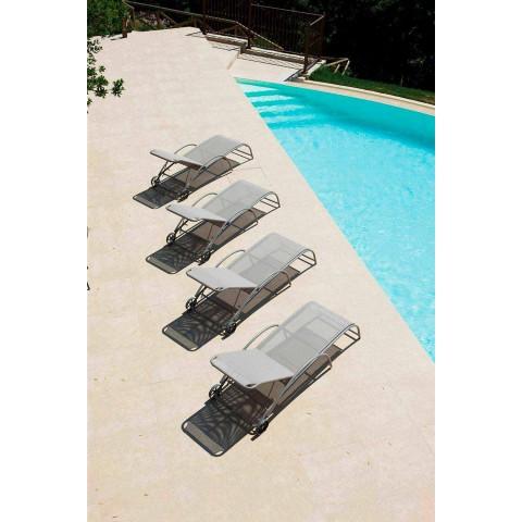 2 stapelbare chaise longues voor buiten van metaal en stof Made in Italy - Perlo