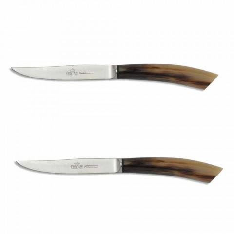 2 steakmessen met hoorn of houten handvat Made in Italy - Marino
